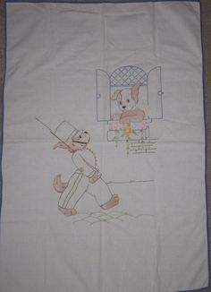 Vintage 29 x 41 Crib Blanket or Wall Hanging Tinted Embroidered Puppy Dogs.