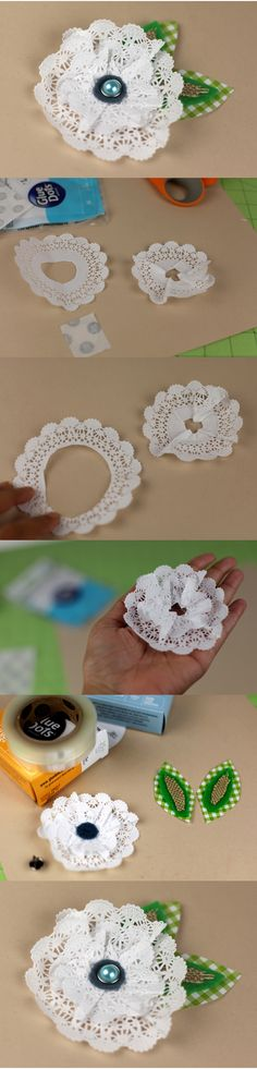 Create delicate doily flowers with XL Glue Dots and brighten up a simple gift box, a layout or even a card! Paper Doily Crafts, Doily Art, Doilies Crafts, Paper Doilies, Paper Flowers Diy, Handmade Flowers, Flower Crafts, Fabric Flowers, Diy Crafts