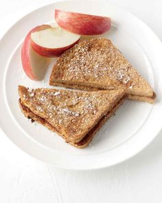 Apple-Butter Sandwiches | Martha Stewart Living - Here's a nice twist on French toast. Serve it with fresh apple slices for extra fiber and vitamin C.