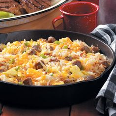 Camper's Breakfast Hash; use reduced  low fat cheese, turkey sausage and egg beaters