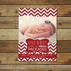 Christmas card, holiday photo card, birth announcement, good things come in small packages
