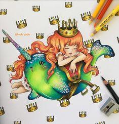 Prismacolor, Manga Mermaid, Mermaid Coloring Book, Glenda, Tombow Dual Brush, Pop Surrealism, Pretty Art, Coloring Books, Colouring