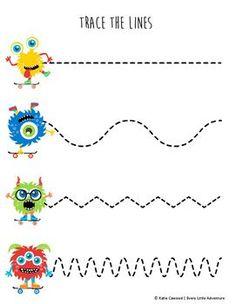 Fine Motor Monster Tracing Lines Worksheet   FREE preschool Halloween download from TPT!