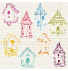 Cute bird house doodles vector