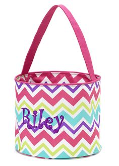 Personalized Girls Chevron Easter Basket Bucket at GracieClaireBoutique.com - SALE $20