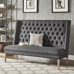 """Birch Lanea\""""¡é Heritage Kaitlin Tufted Upholstered Bedroom Bench Birch Lanea Heritage Upholstery: Gray , Entryway Bench Storage, Upholstered Storage Bench, High Back Dining Bench, Luxury Chairs, Furniture Deals, Furniture Shopping, Living Room Furniture, Studio Furniture, Bench Furniture"""