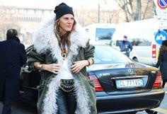 Anna dello Russo || beanie || veletta || street style