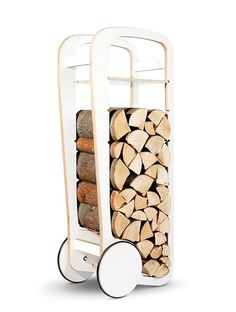 Fleimio Is the best company for Modern Log Holder in Finland. Fleimio Wood Trolley is a new piece of furniture, that enables you to both move your firewood and store it in your home, fleimio trolley regular is a versatile furniture with wheels. Modern Storage Furniture, Small Furniture, Furniture Design, Range Buche, Fireplace Logs, Fireplaces, Fireplace Ideas, Treehouse Hotel, Log Holder