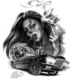 """Check out this project: """"CG art, Illustration""""… Gangster Tattoos, Chicano Tattoos, Chicano Style Tattoo, Lowrider Tattoo, Lowrider Art, New Tattoos, Body Art Tattoos, Sleeve Tattoos, Temporary Tattoos"""