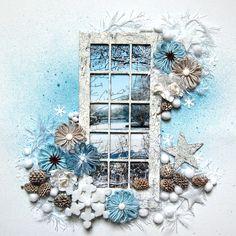Love the window! winter layout *Dusty Attic* - Scrapbook.com
