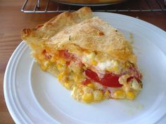 corn, tomato, & Cheddar pie: (crust) flour, baking powder, salt, butter, milk, (filling) tomatoes, corn, chives, salt, pepper, Cheddar, mayo, lemon juice--but it looks pretty versatile...