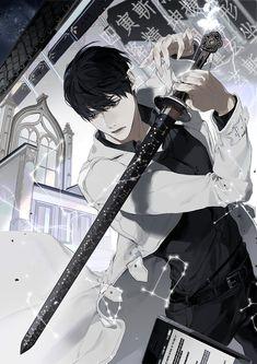 Swordsman…but look at his sword. Manga Anime, Manga Boy, Anime Art, Character Concept, Character Art, Character Design, Fantasy Characters, Anime Characters, Dark Anime Guys
