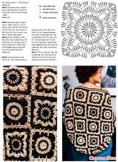 Patterns And Motifs: Crocheted Motif No. Motifs Granny Square, Granny Square Crochet Pattern, Crochet Stitches Patterns, Crochet Squares, Crochet Motif, Crochet Shawl, Free Crochet, Granny Squares, Crochet Coat