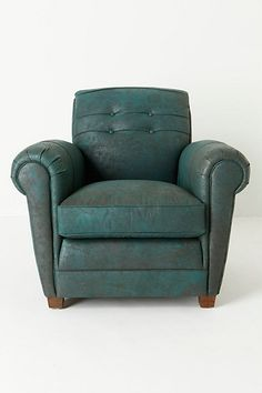 Jack Club Chair, Blue #anthropologie Not loving the colour,however the style is appealing and could see it in a ice worn brown in my minds eye