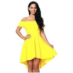 Off The Shoulder Gorgeous Yellow Elegant Slim Fitting Skater Dress ❤ liked on Polyvore featuring dresses, yellow day dress, off shoulder skater dress, yellow off shoulder dress, off the shoulder dress and slim fit dress