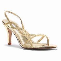 Touch Ups Womens RANDI GOLD Glitter Strappy Slingback Sandals Wedding Formal #WeddingShoes #GoldSandals