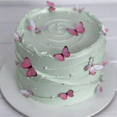 Butterfly Birthday Cakes, Pretty Birthday Cakes, Birthday Cakes For Women, My Birthday Cake, Butterfly Cakes, Pretty Cakes, Beautiful Cakes, Amazing Cakes, Cakes With Butterflies