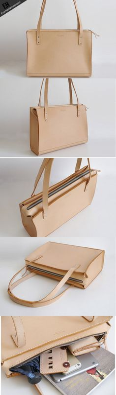 Handmade Leather handbag shoulder bag beige for women leather