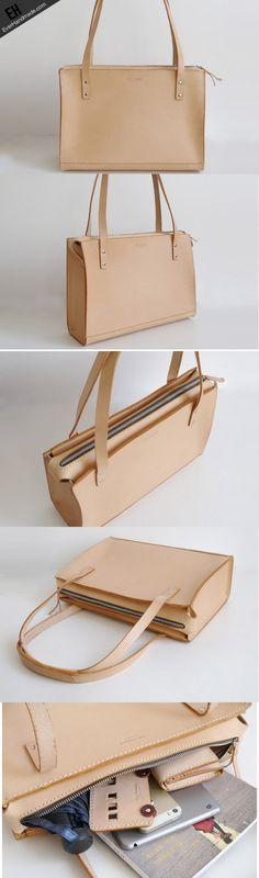 Handmade Leather handbag shoulder bag beige for women leather