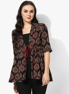 Buy Sangria Frilled Elbow Sleeves Short Ajrak Shrug With Mirror Detailing Online - 3422717 - Jabong Frock Fashion, Skirt Fashion, Fashion Dresses, Fashion 2017, Short Kurti Designs, Kurta Designs Women, Dress Neck Designs, Blouse Designs, Kalamkari Dresses