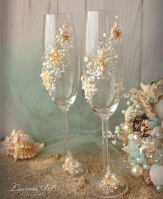 Beach Wedding Champagne Flutes Wedding Champagne Glasses Wedding Toasting Flutes Set of 2 Beach Wedding Reception, Beach Wedding Flowers, Wedding Table, Wedding Favors, Beach Weddings, Wedding Ideas, Wedding Souvenir, Nautical Wedding, Destination Weddings