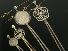 The set of Metal Kanzashi . Accessories / Geisha hair clip  /Japanese vintage/ Japonisme / Japonism by JapaVintage on Etsy