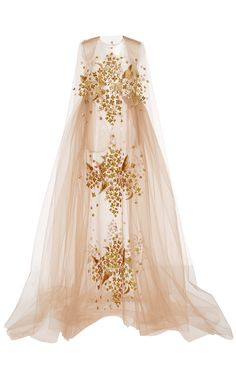 Yellow Print Embroidered Bobbinet Tulle Gown by DELPOZO for Preorder on Moda Operandi