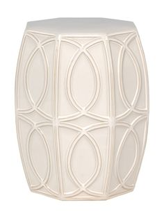 Garden Stools / Side Tables, White Geometric Stool, so cool, one of over 3,000 limited production interior design inspirations inc, furniture, lighting, mirrors, tabletop accents and gift ideas to enjoy repin and share at InStyle Decor Beverly Hills Hollywood Luxury Home Decor enjoy & happy pinning