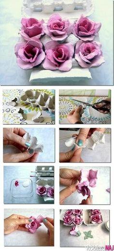 Ręcznie robione róże z pudełka po jajkach / roses tutorial
