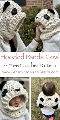 Good Snap Shots Crochet cowl children Thoughts Hooded Panda Cowl- Free crochet pattern in adult, child and toddler sizes Sie Cowls Kleink Love Crochet, Crochet Gifts, Crochet For Kids, Easy Crochet, Knit Crochet, Crochet Toddler Hat, Crochet Panda, Crochet Winter, Crochet Granny