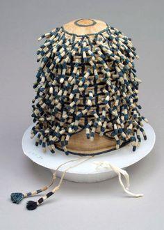 So fascinating. Africa | Man's prestige hat ~ 'ashetu' ~ from the Bamun Kingdom of Cameroon | Cotton; looping | 20th century #tribalchic