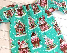 Girls Christmas Dress Toddler Gingerbread Houses