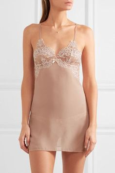 L'AGENT BY AGENT PROVOCATEUR Angelica lace-trimmed chiffon chemise