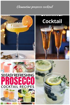 Turn a bottle of fizz into a batch of glamorous clementine Prosecco cocktails, for a stylish way to serve a Christmas party crowd. Sweet orange liqueur and clementine juice complete this fruity festive drink. Clementine Juice, Prosecco Cocktails, Crowd, Festive, Alcoholic Drinks, Orange, Stylish, Bottle, Tableware