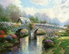 Thomas Kinkade Blossom Bridge painting for sale, this painting is available as handmade reproduction. Shop for Thomas Kinkade Blossom Bridge painting and frame at a discount of off. Thomas Kinkade Art, Kinkade Paintings, Oil Paintings, Thomas Kincaid, Bridge Painting, Art Thomas, Beautiful Paintings, Beautiful Sketches, Techno