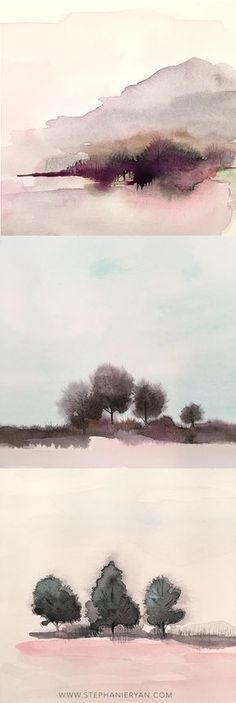 Dreaming of Landscapes: I am mildly obsessed with landscapes these days. I am always surprised when they turn out. It is definitely something new for me. It's funny how taking a chance on trying something different can lead you down I road you never expected! #stephanieryanblog #landscape #watercolor