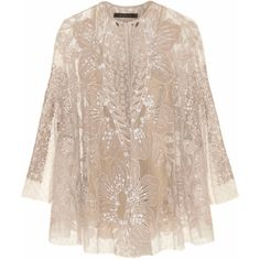 Biyan Kalla embellished tulle cape jacket ($1,680) ❤ liked on Polyvore featuring outerwear, jackets, tops, coats, evening, white, tulle cape, evening jackets, sequin camisole and white jacket