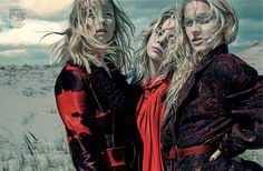 visual optimism; fashion editorials, shows, campaigns & more!: a red letter day: clair westenberg, skye stracke and lisa by sophy holland for elle singapore august 2015