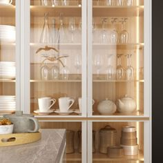 Vista de detalle. Proyecto 3D cocina vivienda en Pozuelo - Madrid China Cabinet, Madrid, 3d, Storage, Furniture, Home Decor, Cooking, Projects, Homemade Home Decor