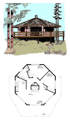 COOL House Plan ID: chp-18899 | Total Living Area: 696 sq. ft., 2 bedrooms and 1 bathroom. #octagonhome
