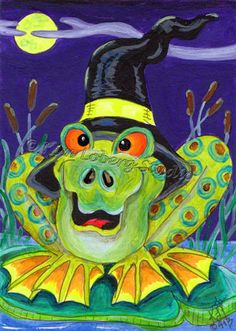 Frog witch hat Halloween Toad aceo EBSQ Loberg animal HA31 Mini Art moon Pond #IllustrationArt