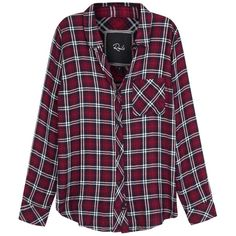 Womens Shirts Rails Hunter Dark Red Plaid Flannel Shirt ($190) ❤ liked on Polyvore featuring tops, tartan top, plaid shirt, shirt top, plaid flannel shirt and purple plaid shirt