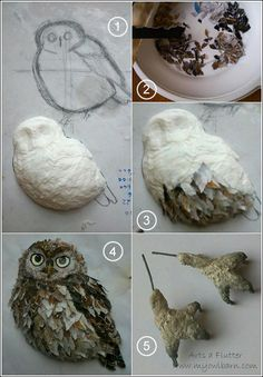 Catherine Wells creates these beautiful birds with papier mache and paper from recycled magazine. Catherine Wells creates these beautiful birds with papier mache and paper from recycled magazine. Paper Mache Projects, Paper Mache Clay, Paper Mache Sculpture, Paper Mache Crafts, Owl Crafts, Clay Crafts, Diy And Crafts, Paper Birds, Paper Flowers