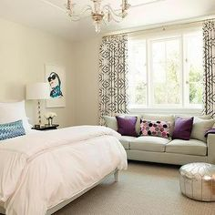 Teenage Girl Bedroom with Gray Sofa as Window Seat