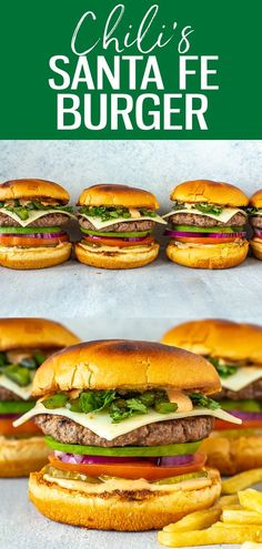 This Chili's Santa Fe Burger is a perfect copycat, stacked with avocado, monterey jack, red onion, jalapeños, tomato, pickles, cilantro Great Burger Recipes, Sandwich Recipes, Lunch Recipes, Summer Recipes, Crockpot Recipes, Salad Recipes, Great Recipes, Vegan Recipes, Cooking Recipes