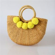 New hair ball bag mini yellow grass moon bag hand-woven straw bag handbag beach bag Yellow Hair, Yellow Black, Small Luggage, Luggage Sizes, Fabric Textures, Dark Grey, Straw Bag, Hand Weaving, Fiber