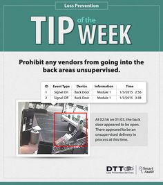 Prohibit any vendors from going into the back areas unsupervised. #DTTLPTips