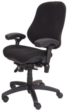BodyBilt J2507x Black Fabric High Back Thoracic Support Task Ergonomic Chair with Arms, 22