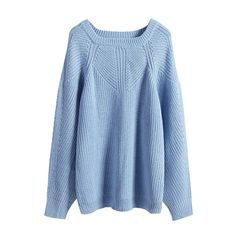 Plain Raglan Sleeve Square Neck Sweater featuring polyvore, fashion, clothing, tops, sweaters, beautifulhalo, raglan sweater, square neck top, blue top, raglan top and blue sweater