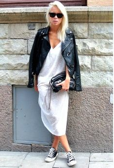 a good leather jacket with converse #leather #jacket #dress